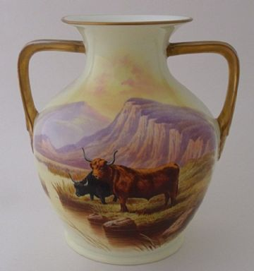 Royal Cauldon Highland Cattle Vase By D Birbeck
